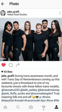 feel free to post your pics in the comments or on my wall for #TransAwarenessMonth! 😍 in the pic: https://www.instagram.com/jake_graf5/ https://www.instagram.com/hannahw253/ https://www.instagram.com/laith_ashley/ https://www.instagram.com/kierandmoloney/ https://www.instagram.com/pink_fluffy_socks/ https://www.instagram.com/munroebergdorf/: Photo  jake graf5  Abbey Road Studios  a  93 likes  jake graf 5 During trans awareness month, and  with Trans Day of Remembrance coming up this  weekend, just a throwback to one of my  favourite shoots with these fellow trans models,  @hannahw253 alaith ashley @kierandmoloney  @pink fluffy socks and @munroebergdorf Truly  inspiring folk one and all! #trans  #beautiful #model transmodel pic #love thlife feel free to post your pics in the comments or on my wall for #TransAwarenessMonth! 😍 in the pic: https://www.instagram.com/jake_graf5/ https://www.instagram.com/hannahw253/ https://www.instagram.com/laith_ashley/ https://www.instagram.com/kierandmoloney/ https://www.instagram.com/pink_fluffy_socks/ https://www.instagram.com/munroebergdorf/