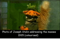 joseph: Photo of Joseph Stalin addressing the masses  1935 (colourised)