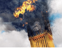 Fucking, Queen, and Death: Photo of the Big Ben just fucking exploding moments after the Queens death (January 5th 2019)