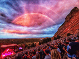 Taken, Red, and Red Rocks Amphitheater: Photo taken inside the Red Rocks Amphitheater last night during a Widespread Panic show.