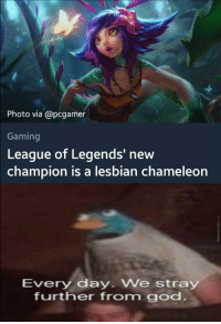 league of legends: Photo via @pcgamer  Gaming  League of Legends' new  champion is a lesbian chameleon  Every day We stray  further from god