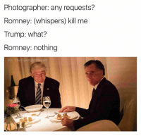 Walmart, Dank Memes, and Step: Photographer: any requests?  Romney: (whispers) kill me  Trump: what?  Romney: nothing  IG: The Funnylntrover Poor guy looks like he just got slapped by his step mom for opening a package in Walmart they can't afford (@highpeopledoingstuff)
