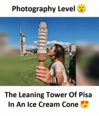 Coneing: Photography Level  The Leaning Tower Of Pisa  In An Ice Cream Cone