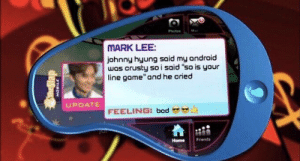 ": Photos  MARK LEE  johnny hyung said my android  wos crusty so i said ""so is your  line gome"" and he cried  UPDATE  FEELING: bad  Home Friends"