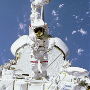 Tumblr, Blog, and Mobile: photos-of-space:  Astronaut Bruce McCandless II, STS-41B mission specialist, tests a Mobile Foot Restraint (MFR) attached to the Remote Manipulator System (RMS) aboard the Space Shuttle Challenger. [3000 x 3000]