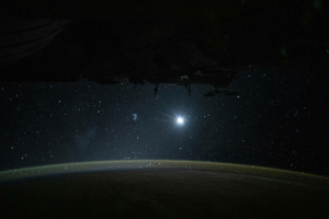 photos-of-space:  Earth, Moon and stars all in one view captured by the crew of the ISS: photos-of-space:  Earth, Moon and stars all in one view captured by the crew of the ISS