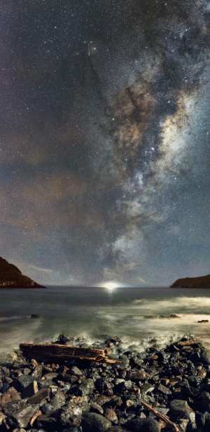 photos-of-space:  I thought the cargo freighter out at sea would ruin my shot - instead, it looks like the Milky Way is pointing straight at it - taken at Taylor's Mistake, New Zealand [1263x2600]: photos-of-space:  I thought the cargo freighter out at sea would ruin my shot - instead, it looks like the Milky Way is pointing straight at it - taken at Taylor's Mistake, New Zealand [1263x2600]