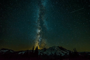 Tumblr, Blog, and Space: photos-of-space:  Mount Rainer w Milky way time lapse [OC] [6000x4000]