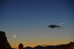 Tumblr, Blog, and Mercury: photos-of-space:  [OC] The moon, Venus, and Mercury, 21:00 PDT 3/18/2018 [OC][6016x4000]