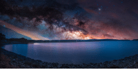 photos-of-space:  Rise: A time-lapse blend of sunset and the night sky taken from the Quabbin Reservoir in Western, MA. [2048x1024][OC]: photos-of-space:  Rise: A time-lapse blend of sunset and the night sky taken from the Quabbin Reservoir in Western, MA. [2048x1024][OC]