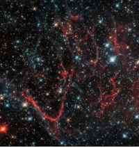 Life, Nasa, and Tumblr: photos-of-space:  This dark, tangled web is a supernova remnant, created after a massive star ended its life in a cataclysmic explosion. This created the messy formation we see in this NASA's Hubble Space Telescope image, with threads of red snaking amidst dark, turbulent clouds. [3945 x 4165]