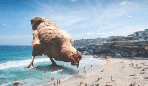 Photoshopped chicken at beach: Photoshopped chicken at beach