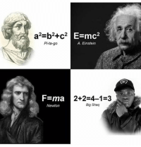Shaq, Einstein, and Classical Art: Pi-ta-go  A. Einstein  F=ma  Newton  2+2-4-1 3  Big Shaq