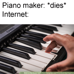 Dank, Internet, and Memes: Piano maker: *dies*  Internet  wi  ki How to Play Scales on the Piano Using Two and Three Black Key Fingering meirl by Phoenixmaster1571 MORE MEMES
