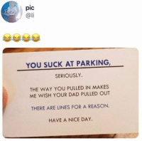 Dad, Dank, and Reason: pic  @li  YOU SUCK AT PARKING  SERIOUSLY.  THE WAY YOU PULLED IN MAKES  ME WISH YOUR DAD PULLED OUT  THERE ARE LINES FOR A REASON  HAVE A NICE DAY Need me some of these cards.