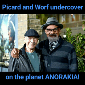 Planet, Worf, and Picard: Picard and Worf undercover  on the planet ANORAKIA!