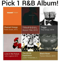 Bryson Tiller, Frank Ocean, and John Legend: Pick 1 R&B Album!  otaannel ORANGE  TRAP SOUL  Channel Orange  TRA P S o UL Trigga  Frank Ocean, 2012  Bryson Tiller, 2015  Trey Songz, 2014  /2  T H  E X P  N. C  Love in the Future  The 20/20  Black Rose  John Legend, 2013  Experience  Tyrese Gibson, 2015  Justin Timberlake, 2... Pick one and only one