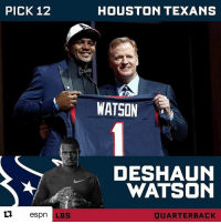 Espn, Future, and Memes: PICK 12  espn LBS  HOUSTON TEXANS  WATSON  DESHAUN  WATSON  JUARTERBACK About damn time. Way to go @HoustonTexans. Now you guys have a real future. nfldraft