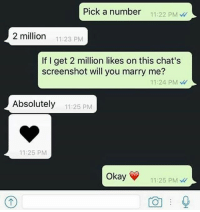 Memes, Okay, and 🤖: Pick a number :22 PM  2 million  11:23 PM  If I get 2 million likes on this chat's  screenshot will you marry me?  11:24 PM  Absolutely 1  11:25 PM  11:25 PM  Okay  11:25 PM Follow our new page - @sadcasm.co