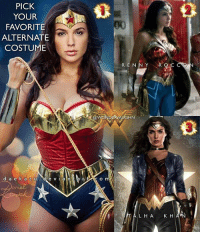Memes, Superhero, and Princess: PICK  YOUR  FAVORITE  ALTERNATE  COSTUME  RENNYR  AUGHN  3  e v i a n  LHA K H A NEW LOOK! As with every superhero, alternate looks to their costumes is a staple for a sequel film. And Wonder Woman should be no different. Princess Diana has had many looks over the decades and here are 3 recent manips! * BESIDES HER CURRENT ARMOR, which of these looks would you like to see @gal_gadot wear in Wonder Woman 2? 1 - CLASSIC Look EDIT: The Amazing BODY is cosplayer @thevalerieperez, the manip is by @danielkordek * 2 - INJUSTICE Inspired by @herohuggers_by_rennyroccon * 3 - ODYSSEY 600 by Talha Khan *** mywonderwoman girlpower women femaleempowerment MulherMaravilha MujerMaravilla galgadot unitetheleague princessdiana dianaprince amazons amazonwarrior manofsteel thedarkknight