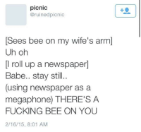 me irl: picnic  @ruinedpicnic  Sees bee on my wife's arm]  Uh oh  [l roll up a newspaper]  Babe.. stay still..  (using newspaper as a  megaphone) THERE'S A  FUCKING BEE ON YOU  2/16/15, 8:01 AM me irl