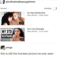 Chlamydia 😥😥😥: picsthatmakeyougohmrm  Up next  Autoplay  Our Open Relationship  Shan BOODY 52OK views  27:55  How I Got Chlamydia  Shan BOODY 311K views  MY STD  NIGHTMARE  4:58  omgs  this is still the funniest picture ive ever seen Chlamydia 😥😥😥