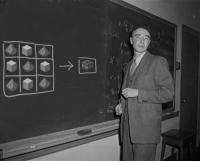 Taken, Design, and Oppenheimer: Picture of J. Robert Oppenheimer taken as he completed the final design of the atomic bomb. (1944)
