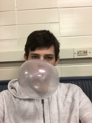 Picture of me blowing a bubble with bubble gum: Picture of me blowing a bubble with bubble gum