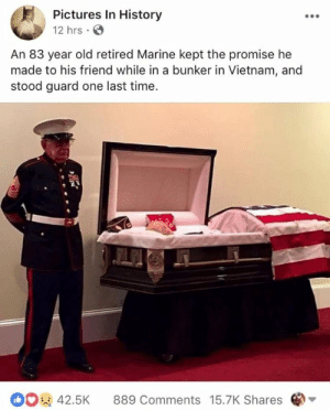A true friend: Pictures In History  12 hrs  An 83 year old retired Marine kept the promise he  made to his friend while in a bunker in Vietnam, and  stood guard one last time  42.5K 889 Comments 15.7K Shares A true friend