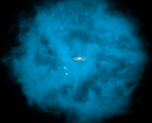 "Halo, Tumblr, and Blog: pictures-of-space:    Astronomers Discover Dizzying Spin of the Milky Way Galaxy's ""Halo""Our Milky Way galaxy and its small companions are surrounded by a giant halo of million-degree gas (seen in blue in this artists' rendition) that is only visible to X-ray telescopes in space. University of Michigan astronomers discovered that this massive hot halo spins in the same direction as the Milky Way disk and at a comparable speed.  For more information visit our webpage here"