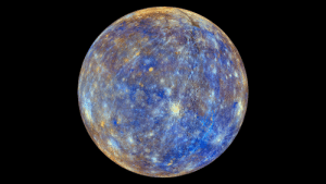 Nasa, Tumblr, and Blog: pictures-of-space:    False Color View of Mercury This colorful view of Mercury was produced by using images from the color base map imaging campaign during MESSENGER's primary mission. These colors are not what Mercury would look like to the human eye, but rather the colors enhance the chemical, mineralogical, and physical differences between the rocks that make up Mercury's surface.   Credit: NASA/Johns Hopkins University Applied Physics Laboratory/Carnegie Institution of Washington