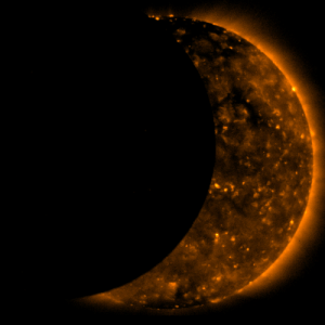 Nasa, Tumblr, and China: pictures-of-space:    Hinode Observes Eclipse The Hinode satellite observing our sun captured images of the moon traversing the face of the sun during a solar eclipse this week. On Wednesday, July 22, 2009, a total eclipse of the Sun was visible from within a narrow corridor that traverses half of Earth. The path of the Moon's umbral shadow began in India and crossed through Nepal, Bangladesh, Bhutan, Myanmar and China. After leaving mainland Asia, the path crossed Japan's Ryukyu Islands and curved southeast through the Pacific Ocean where the maximum duration of totality reached 6 minutes and 39 seconds. A partial eclipse is seen within the much broader path of the Moon's penumbral shadow, which includes most of eastern Asia, Indonesia, and the Pacific Ocean. (NASA/JAXA)   For more information visit our webpage here
