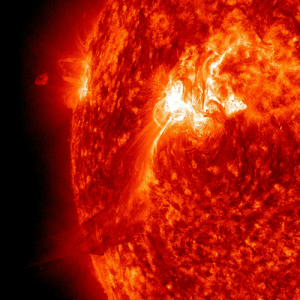 Fall, Nasa, and Tumblr: pictures-of-space:    Spewing Flare Event The Sun popped off an M-Class (moderate level) flare on Sept. 25, 2011 that sent a plume of plasma out above the Sun, but a good portion of it appeared to fall back towards the active region that launched it. The activity in the video clip (here:sdo.gsfc.nasa.gov/gallery/potw.php?v=itemid=69 ), seen in extreme ultraviolet light, covers just 3 hours. With an image every minute, every nuance of graceful motion can be observed in wonderful detail. The bright flash shows the flare itself erupting. Since this event, this active region has been the source of several large flares and many lesser ones that have caused geo-effective storms on Earth as it has rotated around towards facing us. Credit: NASA/SDO Visit our webpage here