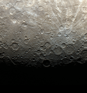 Nasa, Tumblr, and Blog: pictures-of-space:    The Terminator is Here NASA release date June 21, 2011 The terminator of Mercury, shown here in color, is the line between light and dark, or day and night. On Mercury, three days are equivalent to two years, or in other words, the planet spins around its axis three times for every two orbits around the Sun. The first Mercury year of the MESSENGER mission ended on Monday, June 13, 2011. Credit: NASA/Johns Hopkins University Applied Physics Laboratory/Carnegie Institution of Washington
