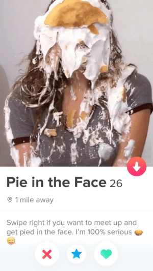 Disney+ brought Pie Man outta hiding: Pie in the Face 26  1 mile away  Swipe right if you want to meet up and  get pied in the face. I'm 100% serious  X Disney+ brought Pie Man outta hiding
