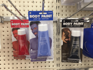 """Good call, Body Paint Company.: Piece  amscan  BODY PAINT  ARGE TUBE NON-TOXIC  amscan""""  BODY PAIN  BODY PAINT  LARGE TUBE NON-TOXIC  LARGE TUBE NON-TOXIC  OD  PAINT  INTURE POUR  CORPS  BODY  PAⅢNT  PEINTURE POUR  E CORP  POU  NETWT 3.4fl oz/100 ml  INTENDED FOR  TIME, NOVELTY  USE ONLY  INTENDED FOR ONE  TIME, NOVELTY  USE ONLY  REMOVES WITH  SOAP & WATER  I CHINA  EN CHINE  REMOVES WITH  SOAP & WATER  INTENDED FOR ONE  TIME, NOVELTY  USE ONLY  MADE IN CHINA  FABRIQUE EN CHIN  oz/100 m  REMOVES WITH  SOAP & WATER  Piece Net Wt 3.411, oz/100mL Good call, Body Paint Company."""
