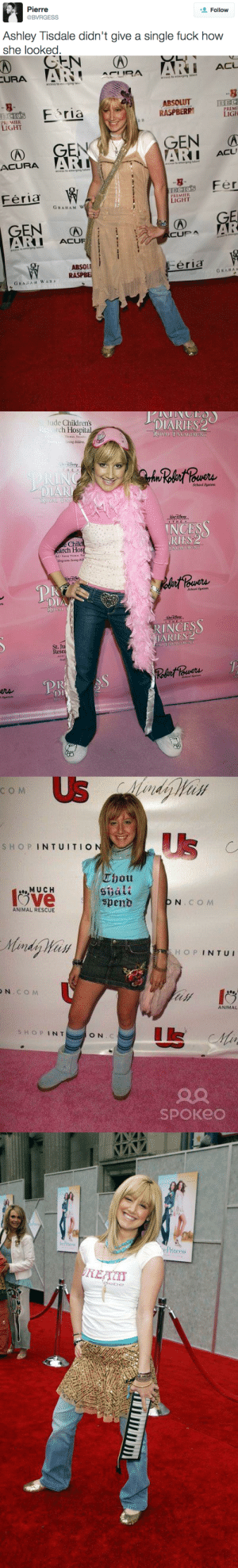School, Target, and Tumblr: Pierre  BVRGESS  Follow  Ashley Tisdale didn't give a single fuck how  she looked   access to emerging talent  8  ABSOLUT BEC  8-  E ria  RASPBERR  PR MIER  LIGHT  IGH  EN A  :41 ACU  ACURA A  access to emerging talent  access te emerging talent  Eds Fer  FériaW  REMIER  IGHT  GRAHAM W  RI ACUF  CUP  ABSOL  WRASPBE  eria  GRARAM WESS   lude Childrens  rch Hospita  ring childres  DIARIES2  uerA  School Systerm  INCESS  RIES:2  Chil  arch Hos  School Sustem  RINCES  ARIES 2  Resea  wots  l Syste   сом  SHOP INTUITIO  Cl) ou  Sbält  M UCH  ANIMAL RESCUE  Handy Han  Н О P INTUI  N CO M  ANIMAL  tis  S HOPINT  O N.C  SpOKeo   e Princess  be bussykween:  actually these are from Versace S/S 2007