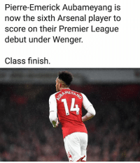 Aubameyang 🔥: Pierre-Emerick Aubameyang is  now the sixth Arsenal player to  score on their Premier League  debut under Wenger.  Class finish.  14 Aubameyang 🔥