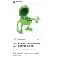 Trendy, Engagement Ring, and Box: pietriarchy  The Model Maker  Mike Wazowski engagement ring  box | THEMODELMAKER  Attribution-NonCommercial-ShareAlike  find u a man who will propose to you with  nothing less why