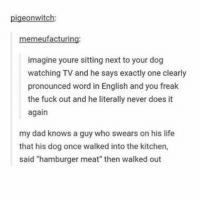 "Tumblr, English, and Hamburger: pigeonwitch:  ufacturin  imagine youre sitting next to your dog  watching TV and he says exactly one clearly  pronounced word in English and you freak  the fuck out and he literally never does it  again  my dad knows a guy who swears on his life  that his dog once walked into the kitchen,  said ""hamburger meat"" then walked out good night. sorry i'm slow on posting. ill catch up after i'm less distracted"