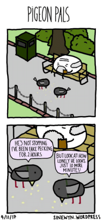 """<p>Pigeon Pals (X-post r/Webcomics) via /r/wholesomememes <a href=""""http://ift.tt/2yukxa3"""">http://ift.tt/2yukxa3</a></p>: PIGTON PIS  HE3 NOT STOPPING  IVE BEEN FAKE PECKING  FOR 2 HOURS BUTLOOKAT HOW  LONELY HE LOOKS  JUST 10 MORE  MINUTES!  SINEWYN.WORDPRESS <p>Pigeon Pals (X-post r/Webcomics) via /r/wholesomememes <a href=""""http://ift.tt/2yukxa3"""">http://ift.tt/2yukxa3</a></p>"""