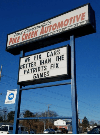 ‪The most savage auto repair shop in Philly is at it again ‬: PIKE CREEK AUTOMOTIVE  WE FIX CARS  BETTER THAN THE  PATRIOTS FIX  GAMES ‪The most savage auto repair shop in Philly is at it again ‬