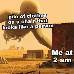 Clothes, Dank, and Memes: pile of clothes  on a chair that  ooks ike a perso  Me at  2 am meirl by Tigercabrera MORE MEMES