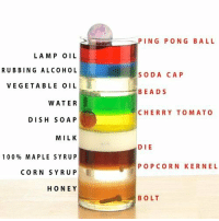"Anaconda, Gif, and Soda: PING PONG BALL  LAM P OIL  RUBBING ALCOHOL  VEGETABLE OIL  WATER  DISH So A P  MILK  100% MAPLE SYRUP  CORN SYRUP  HONEY  SODA CAP  BEADS  CHERRY TOMATO  DIE  POPCORN KERNEL  BOLT <blockquote> <p>Diferentes líquidos y sus densidades</p> <p><img src=""https://78.media.tumblr.com/tumblr_mbeaw2GYwY1qzi58t.gif""/></p> </blockquote>"