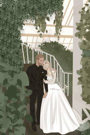 A redraw of a wedding photo. I'm so incredibly happy for them! Happy marriage❤✨💐: Pinguainio 2019  XX A redraw of a wedding photo. I'm so incredibly happy for them! Happy marriage❤✨💐