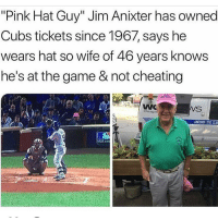 "Cheating, Memes, and Mlb: ""Pink Hat Guy"" Jim Anixter has owned  Cubs tickets since 1967, says he  wears hat so wife of 46 years knows  he's at the game & not cheating  ROUND THE CLD  MLB.co 🗣 @Badassery"