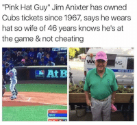 "Cheating, Love, and Memes: ""Pink Hat Guy"" Jim Anixter has owned  Cubs tickets since 1967, says he wears  hat so wife of 46 years knows he's at  the game & not cheating  Fox WOR  SERIES  WS  At B  AROUNDINHEADCI  BAEZ I dont know him but I would love to shake his hand 🙌💍👏"