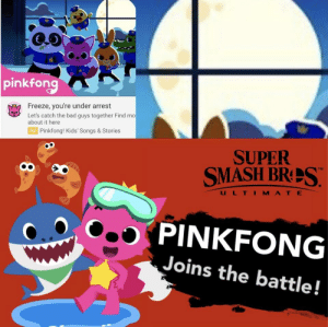 Bad, Smashing, and Kids: pinkfon  Freeze, you're under arrest  Let's catch the bad guys together Find mo  about it here  Ad  Pinkfong! Kids' Songs & Stories  SUPER  SMASH BRES  U L T I M A T E  PINKFONG  Joins the battle! me_irl
