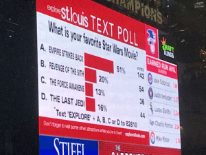 "Charlie, Empire, and Friends: PIOR  stlouis TEXT POLL  What is your favorite Star Wars MovieEARNED RUN A  explore  ORAFT  KINGS  EARNED RUN AVG  A. EMPIRE STRIKES BACK  LEADERS  VOTES  51%  142  Jake Odorizi 1.9  B. REVENGE OF THE SITH  20%  54  Justin Verlander 22  C.THE FORCE AWAKENS  13%  36  Lucas Glalito 2.54  44  Aus Charlie Morton 2.54  D. THE LAST JED  16%  Text ""EXPLORE+A, B,C or D to 82810  Mike Minor 2,74  Don't forget to visit some other atractions while youre n towr! explorestouis.com  THE  STIFEL Help us out friends"
