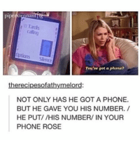 Memes, 🤖, and Nan: pipe  nan  Tardis  o Options Silence  You've got a phone?  the recipesofathymelord:  NOT ONLY HAS HE GOT A PHONE.  BUT HE GAVE YOU HIS NUMBER.  HE PUT/ /HIS NUMBER/ IN YOUR  PHONE ROSE Welcome to Doctor Who Tuesday! doctorwhotuesday doctorwho dw bbc whovian whovians whoviansunite whoviansarecool thedoctor rosetyler billiepiper theninthdoctor ninthdoctor christophereccleston